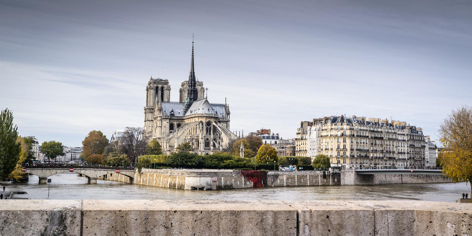 Panorama de la Basilique Notre -Dame de Paris sous un angle où on ne voit pas les centaines de touristes qui la fréquentaient!